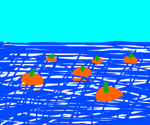Sea filled with pumpkins