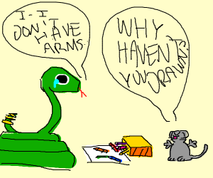 Snake cant draw, thats why Mouse dislikes him