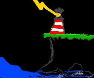 Lighting strikes a lighthouse