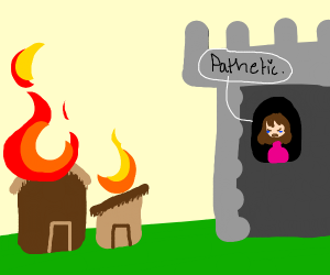 Princess in castle watches everything burn
