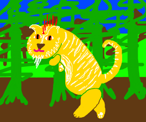 Yellow tiger guy with red spikes on his head