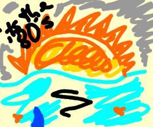 80's cartoon style sunset