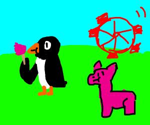 A Penguin and a llama go to a theme park...