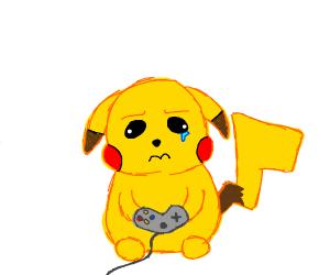 Sad pokemon playing video games.