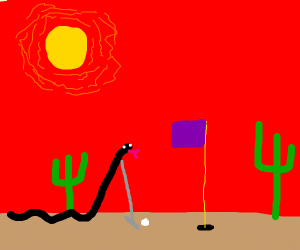 a black snake playing golf in a desert