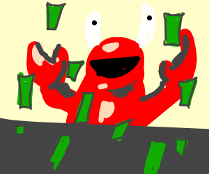 mr krabs with money raining
