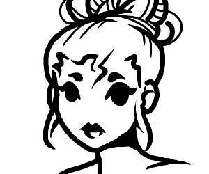 Girl in a messybun