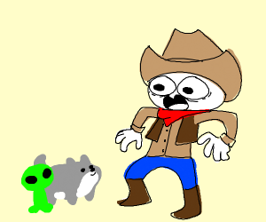 Cowboy scared of alien & wolf