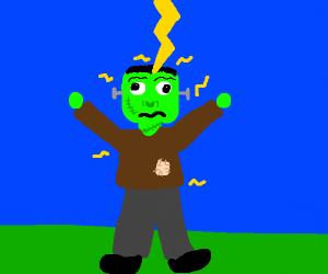 Frankenstein getting struck by lightning