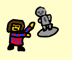 frisk yeeting a statue