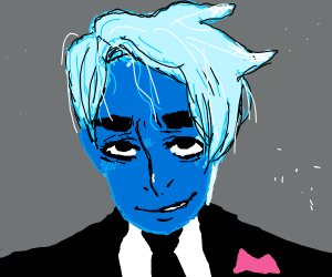Blue skinned guy dressed for a prom