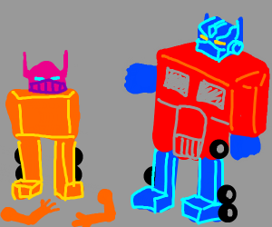 Optimus Prime and his limbless cousin