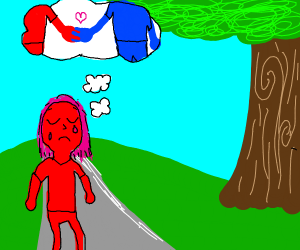 Red person longs to hold a blue person's hand