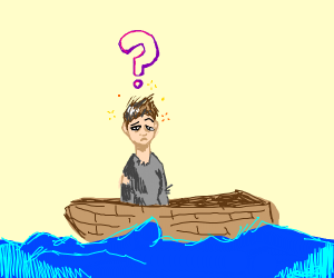 confused person on a boat