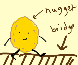A Gold Nugget crossing a Bridge