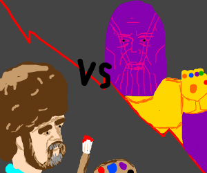 Thanos and Bob Ross Fighting