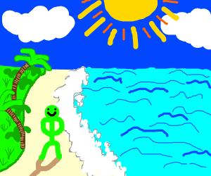 Green man at the beach