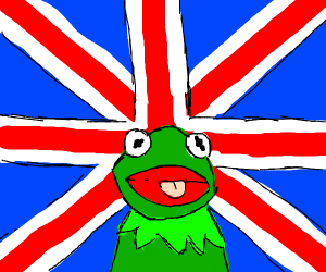 Frog intrested in London flag