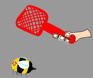 Hand bout to swat some buzzy boi