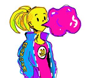 Banana girl blows bubble gum?