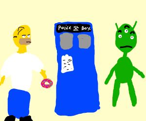 Homer, TARDIS, and an alien