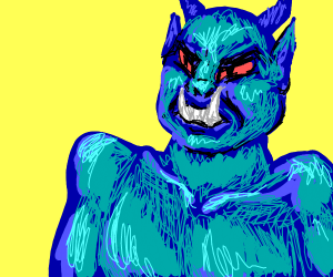 Angry tusked bright blue monster man