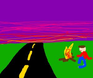 Roadside Campfire