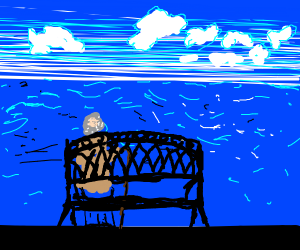 old man on a bench watching the ocean
