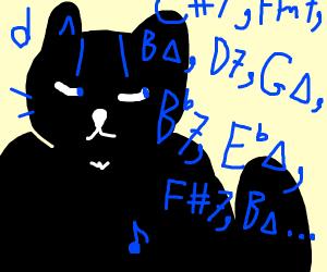 Black cat listening to music