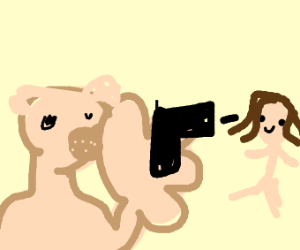lion with giant hand shoots happy baby jesus