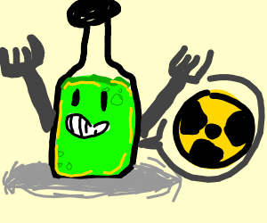 Radioactive Bottleman with forks for arms