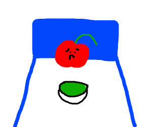 depressed cherry in blue bed with green soup