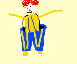 Buff clown with blue pants and afro