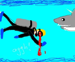 Blinded scuba diver