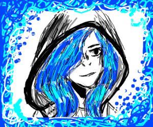 blue hair girl with hood