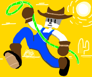 Cowboy in all denim with green lasso