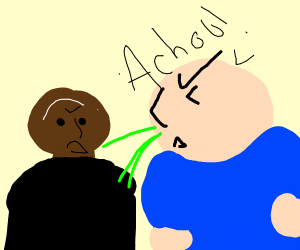 Fat man about to sneeze on a bald guy