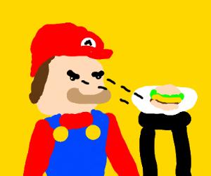 Mario stares intently at a hamburger