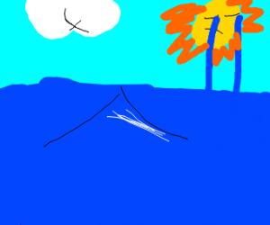 The sun cries into the ocean