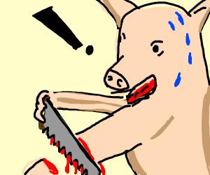 Piglet amputates his own leg