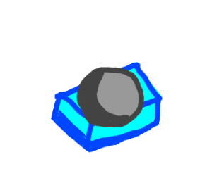 grey thing on a blue thing