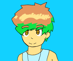 Guy with brown and green hair