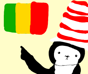 Cat in The Hat points at Guinea flag.