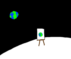 a painting of the earth drawn from the moon