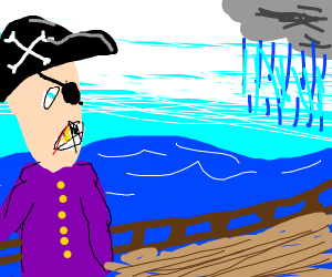 a pirate worried about an oncoming storm