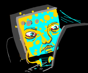 Spongebob typing on a computer