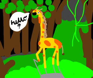 a giraffe in a jungle calling out hello