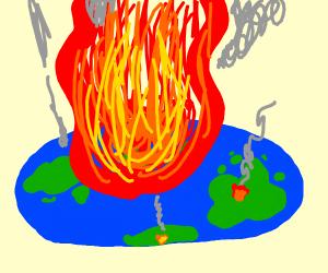 The flat earth burning