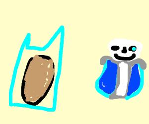 freezing cold potato next to sans(undertale)