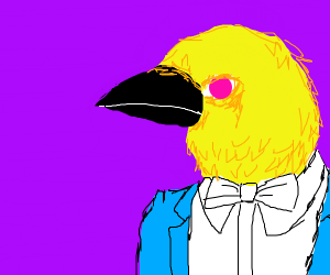 Yellow birb in blue vest